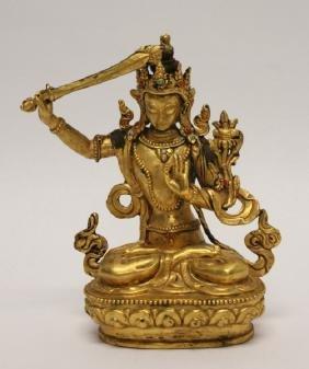 19th C Gold Gilt & Jeweled Bronze Buddha w/ Sword