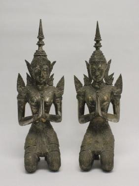Pair Large Bronze Thephanom Thai Angel Sculptures