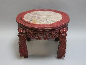 Vintage Chinese Red Lacquer & Marble Low Table