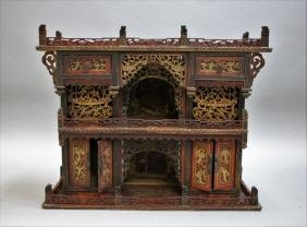 Antique Carved Chinese Buddhist Alter Cabinet