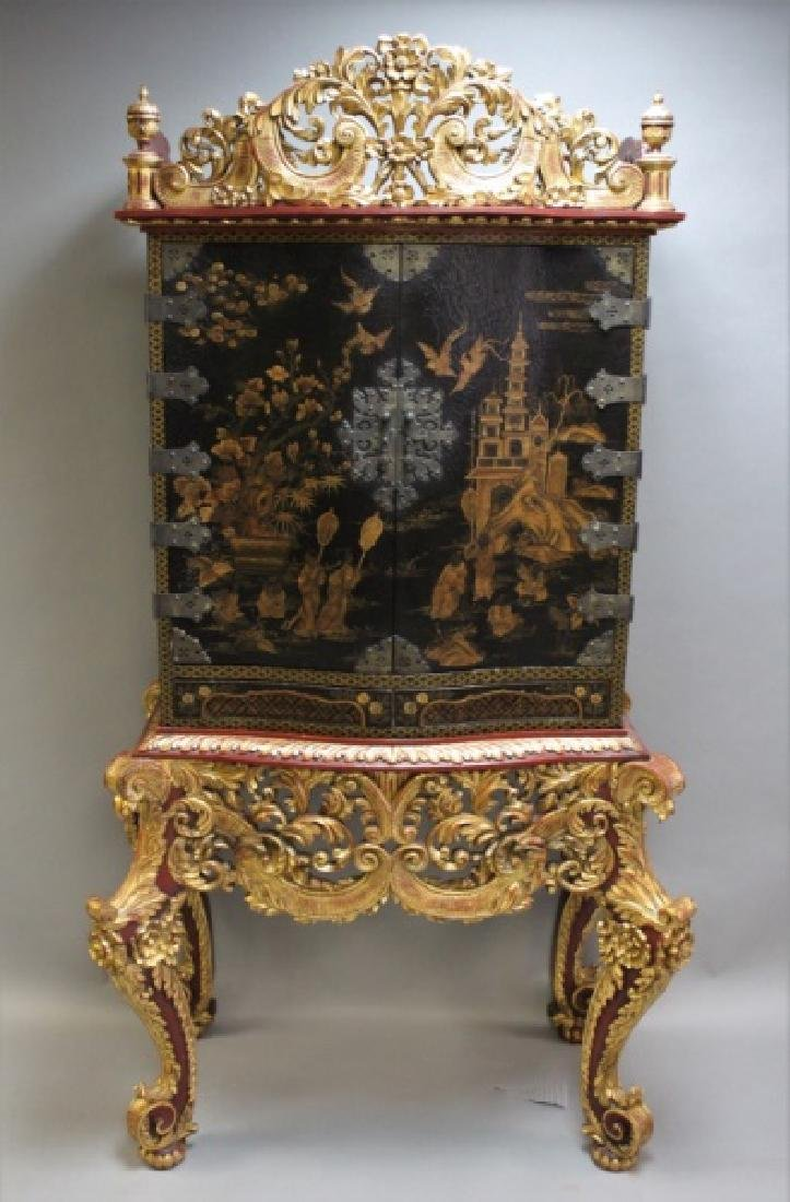 Large Carved & Gilt Wood Chinese Alter Cabinet