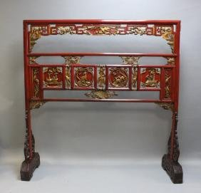 Antique Red Lacquer Chinese Sword or Armory Rack