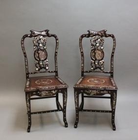 Pair Chinese Rosewood Chairs Mother of Pearl Inlay