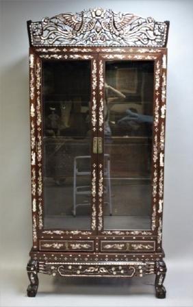 Vintage Rosewood Mother of Pearl Display Cabinet