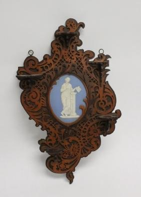 19C Victorian Wall Shelf with Wedgewood Plaque