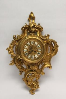 19thC French Rococo Ormolu Bronze Cartel Clock
