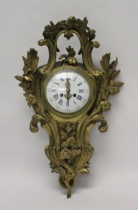 19thC French Dore Bronze Rococo Cartel Clock