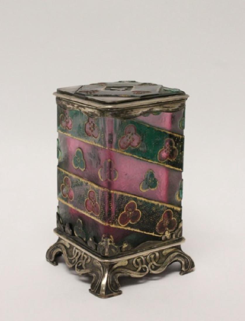 Daum Nancy Art Noveau Sterling & Glass Hinged Box