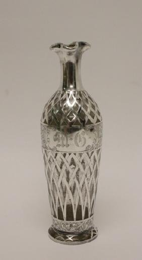 Decanter or Vase with Sterling Silver Overlay