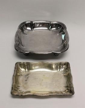 (2) Large German 800 Sterling Silver Platters