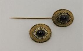 18k Russian Gold Pin & Brooch w Pearls & Rubies