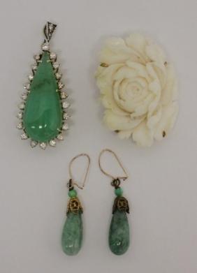 (4) Pcs 18k & 14k Gold, Jade & Coral Jewelry