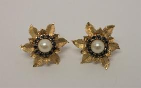 14k Gold Floral Earrings w Sapphires & Pearls