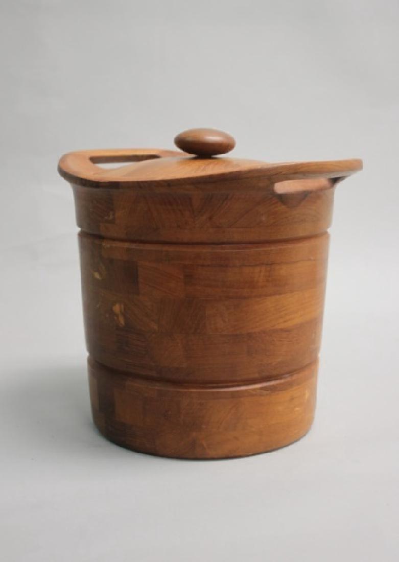 Vintage MCM Danish Teak Ice Bucket w/ Liner - 2