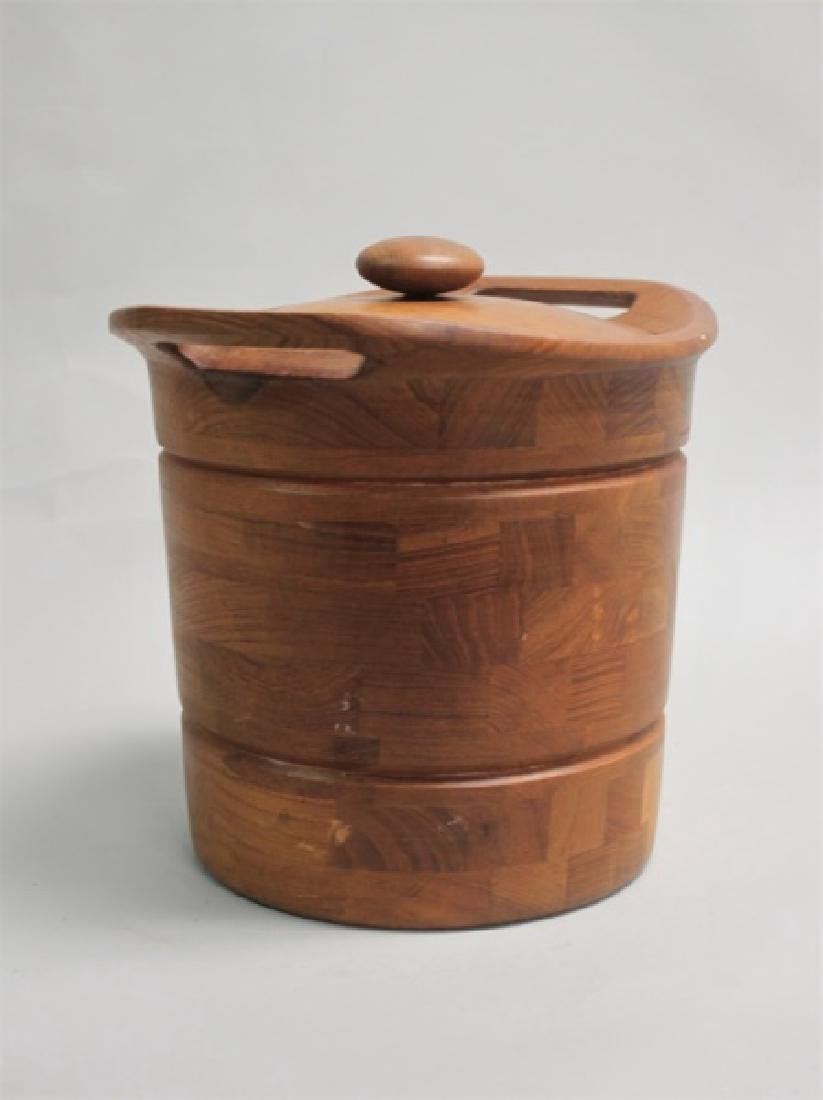 Vintage MCM Danish Teak Ice Bucket w/ Liner - 3