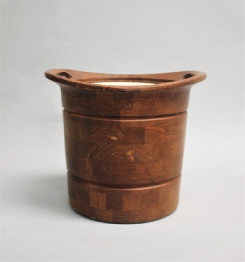 Vintage MCM Danish Teak Ice Bucket w/ Liner - 4