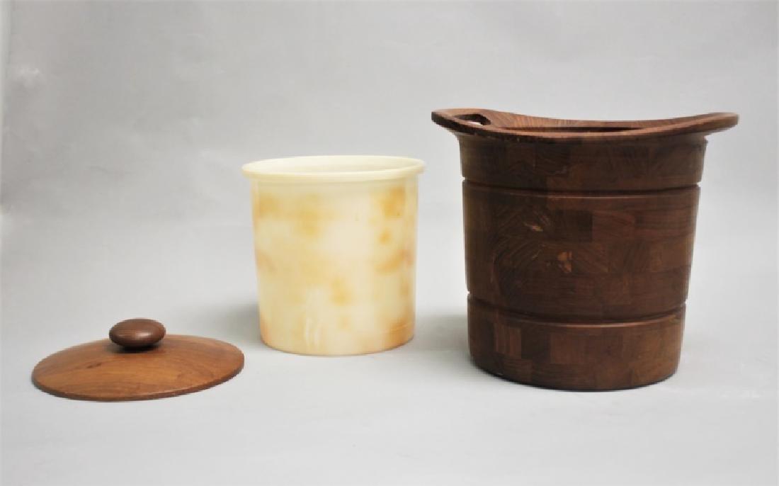 Vintage MCM Danish Teak Ice Bucket w/ Liner - 7