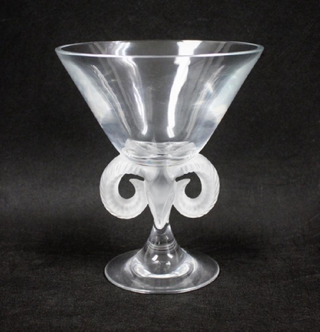 Lalique France Crystal Rams Head Compote
