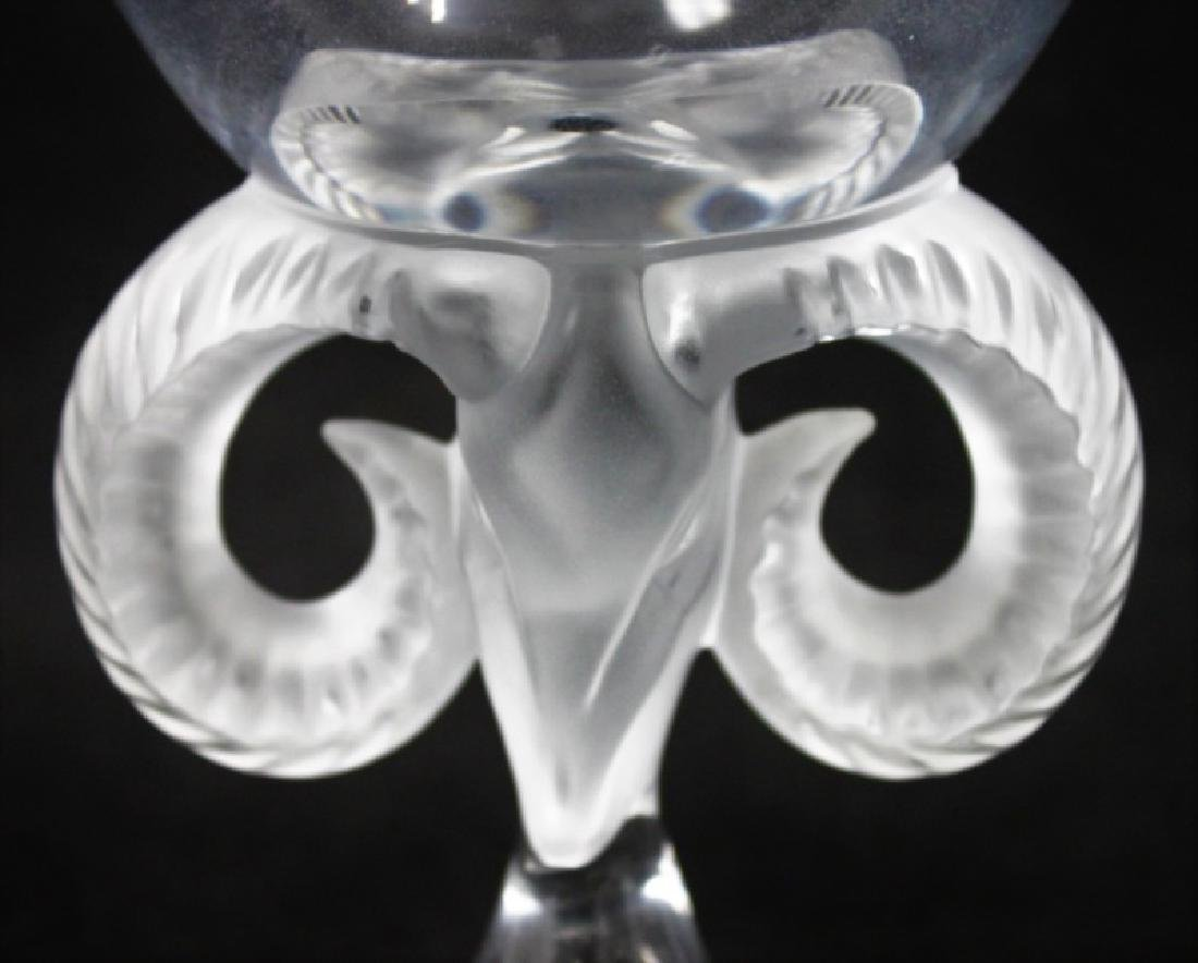 Lalique France Crystal Rams Head Compote - 4