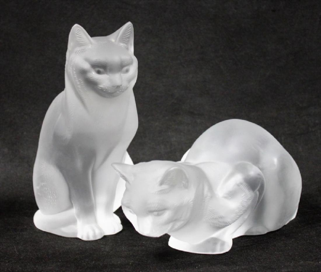 (2) Large Lalique, France Crystal Cats Figures