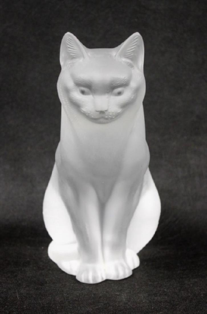 (2) Large Lalique, France Crystal Cats Figures - 2