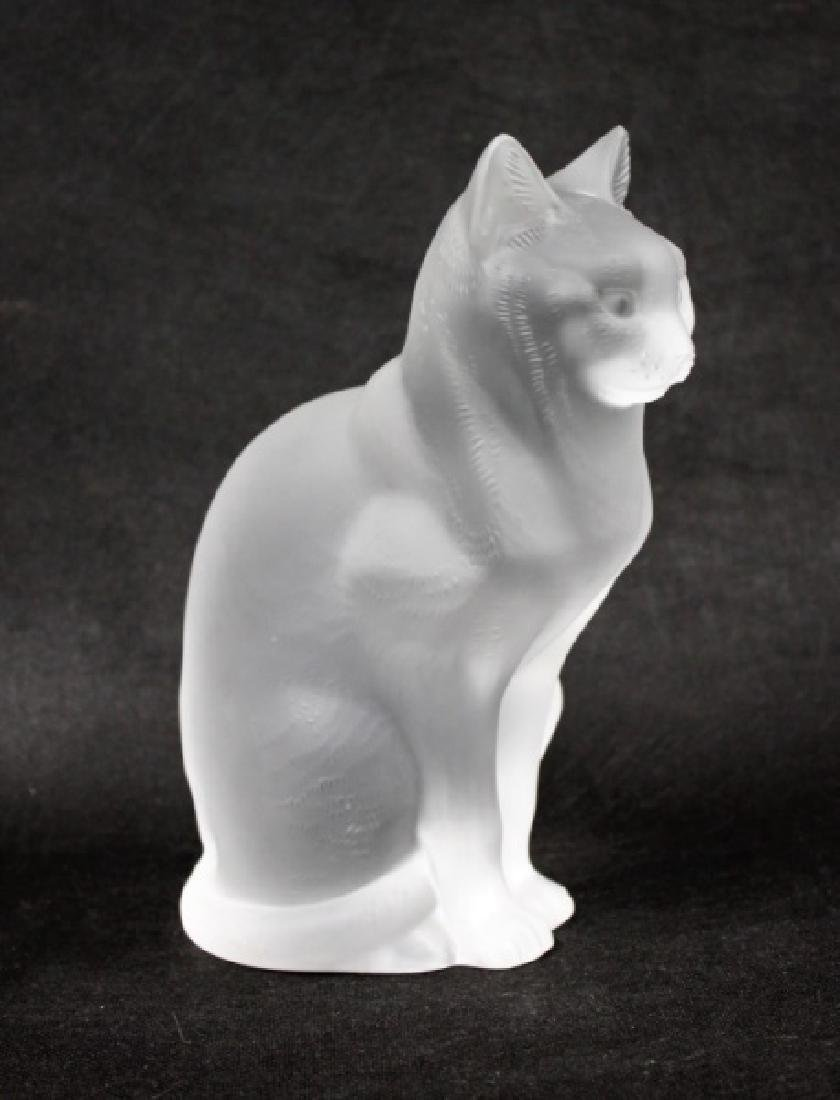 (2) Large Lalique, France Crystal Cats Figures - 3