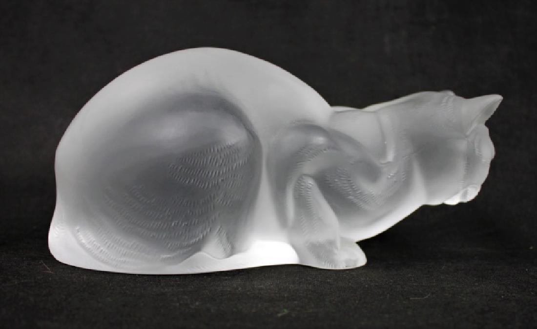 (2) Large Lalique, France Crystal Cats Figures - 4