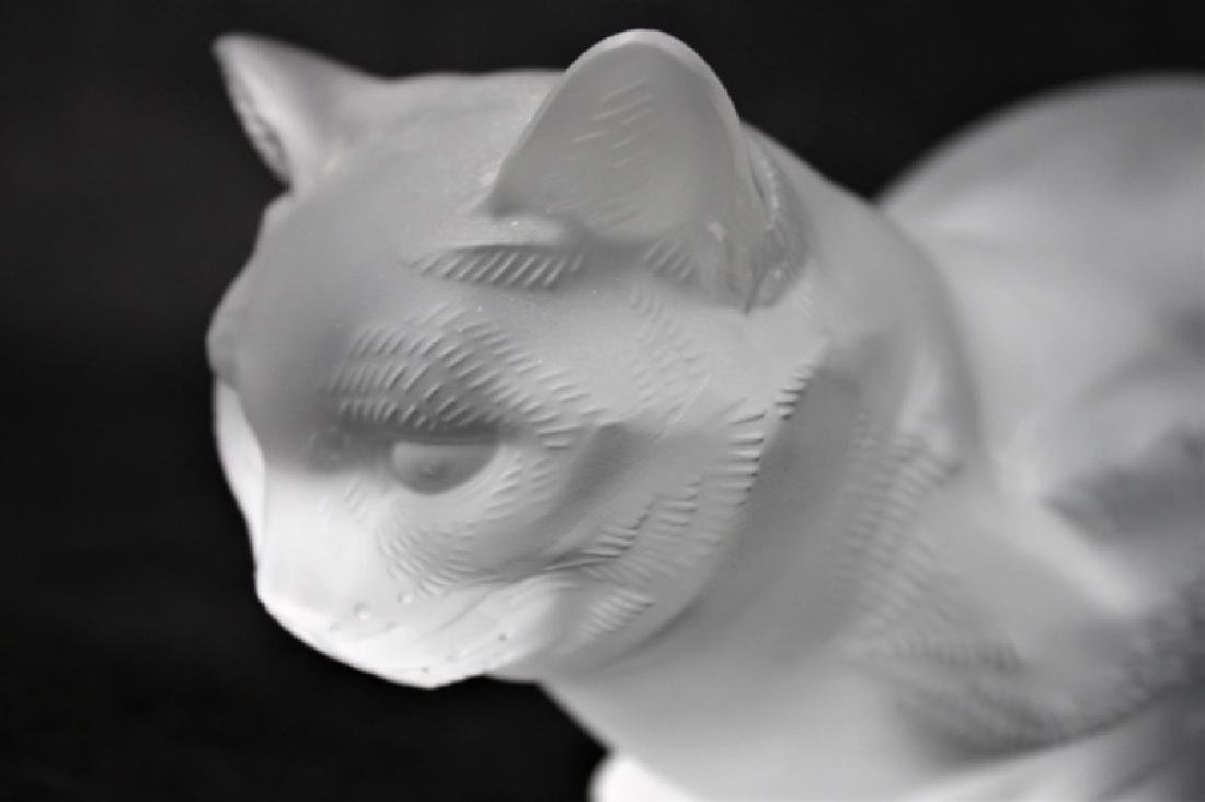 (2) Large Lalique, France Crystal Cats Figures - 5