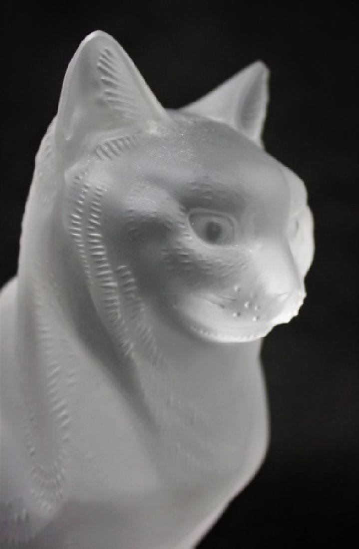 (2) Large Lalique, France Crystal Cats Figures - 6