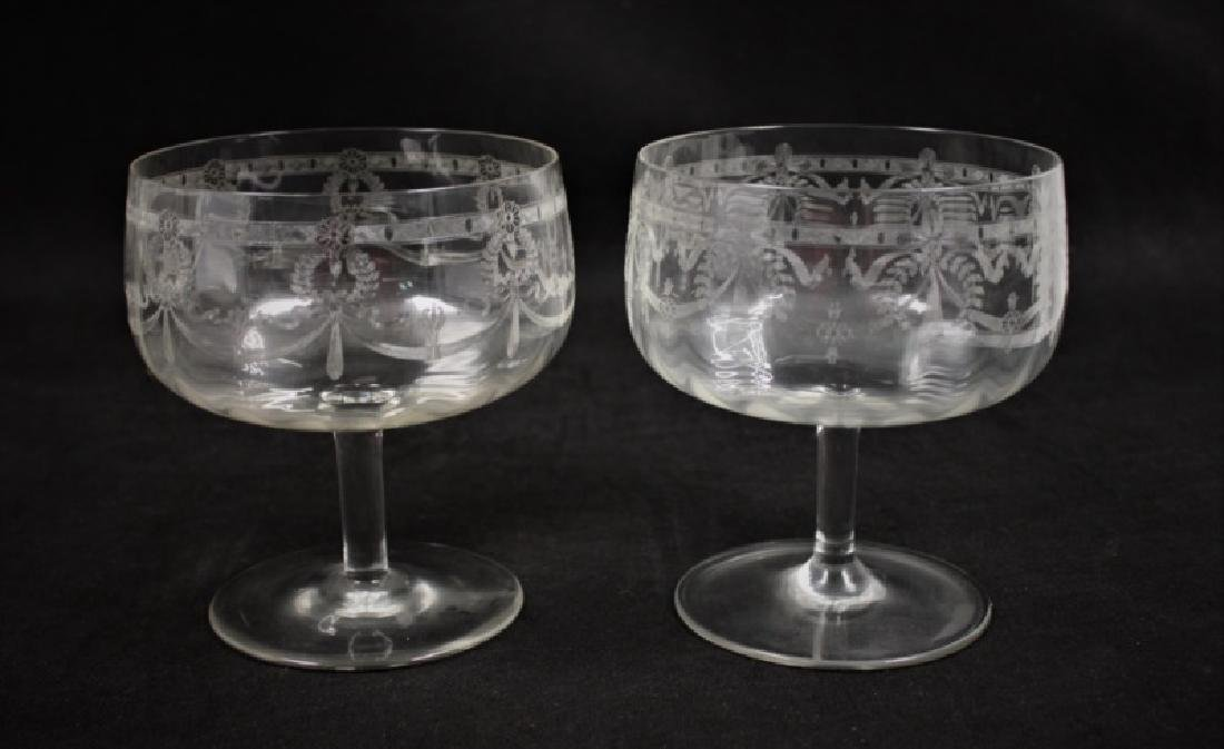 (9) Etched Crystal Trifle Compote Serving Bowls - 4
