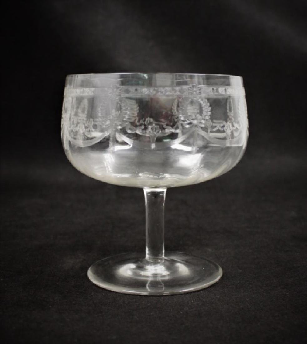 (9) Etched Crystal Trifle Compote Serving Bowls - 7