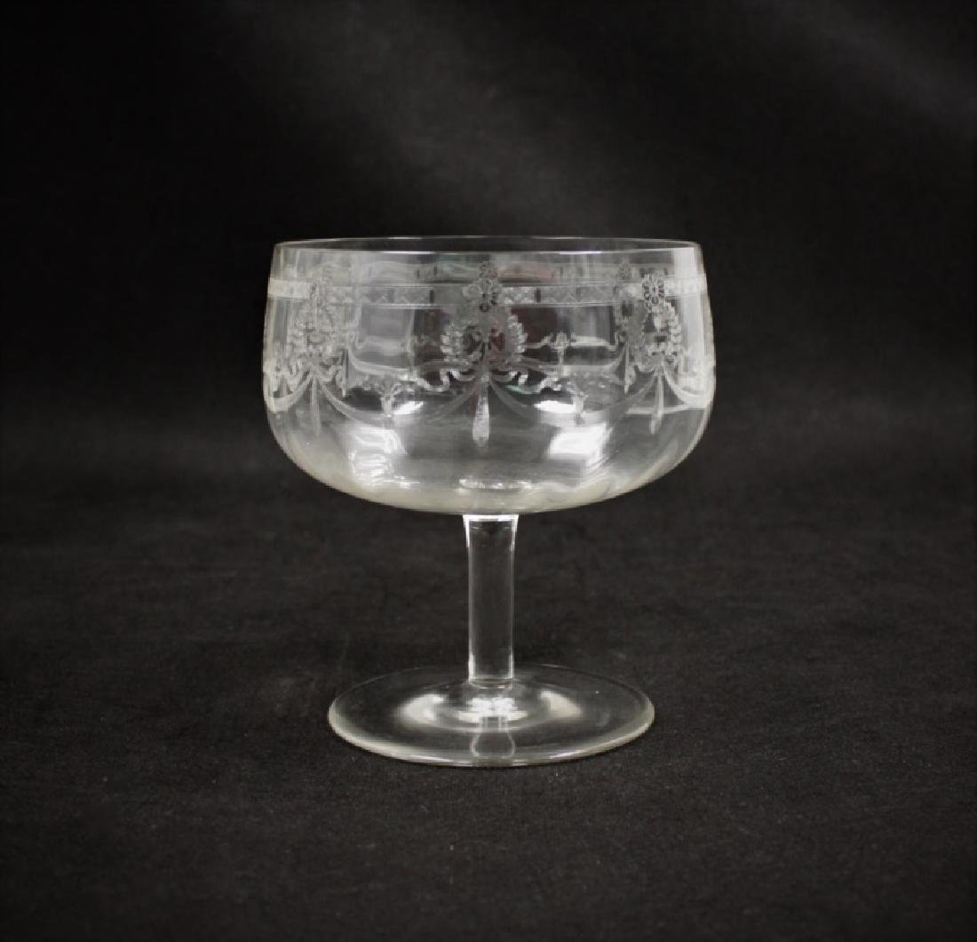 (9) Etched Crystal Trifle Compote Serving Bowls - 8