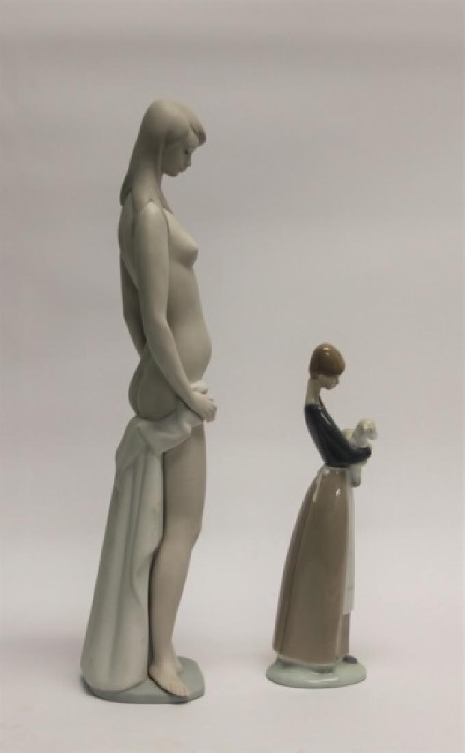 "(2) Lladro Figurines: ""Nude"", Woman Holding Lamb - 5"