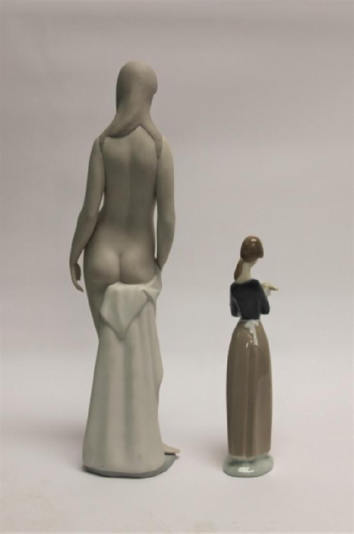 "(2) Lladro Figurines: ""Nude"", Woman Holding Lamb - 6"