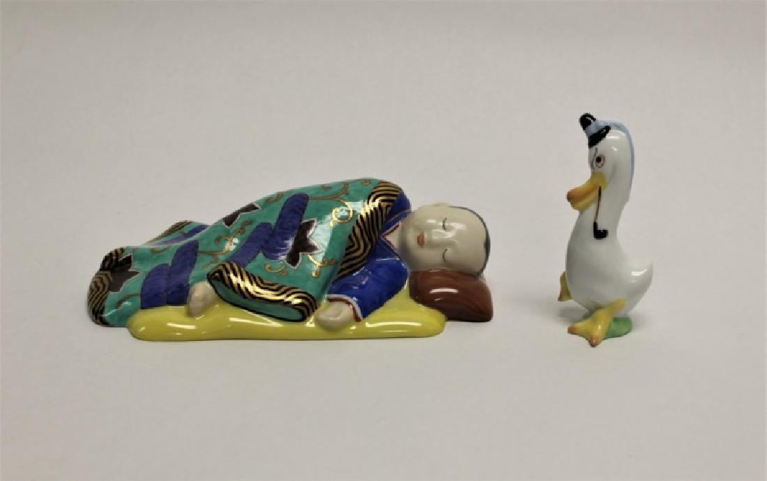 (2)pc Herend Porcelain Sleeping Chinese Boy & Duck