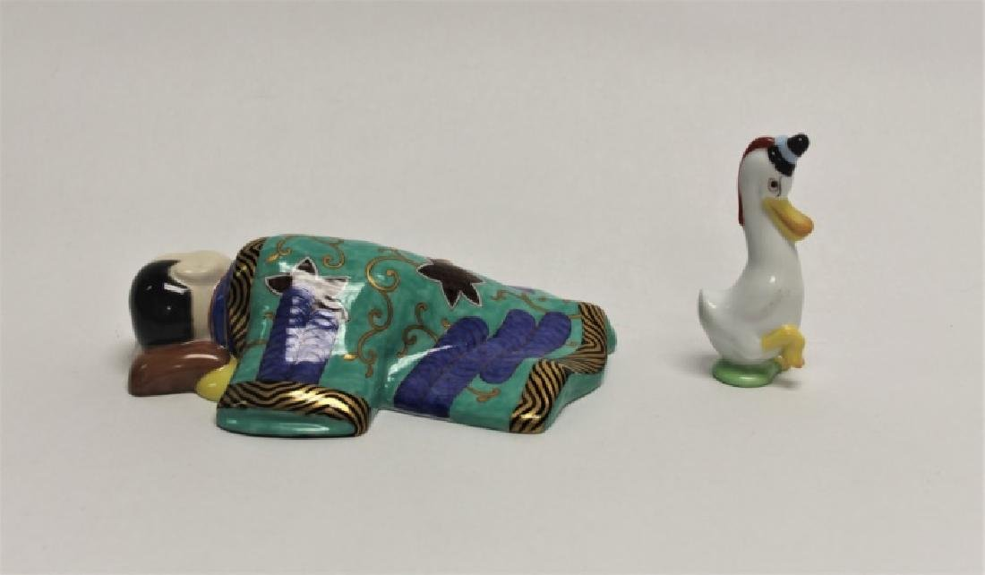 (2)pc Herend Porcelain Sleeping Chinese Boy & Duck - 2