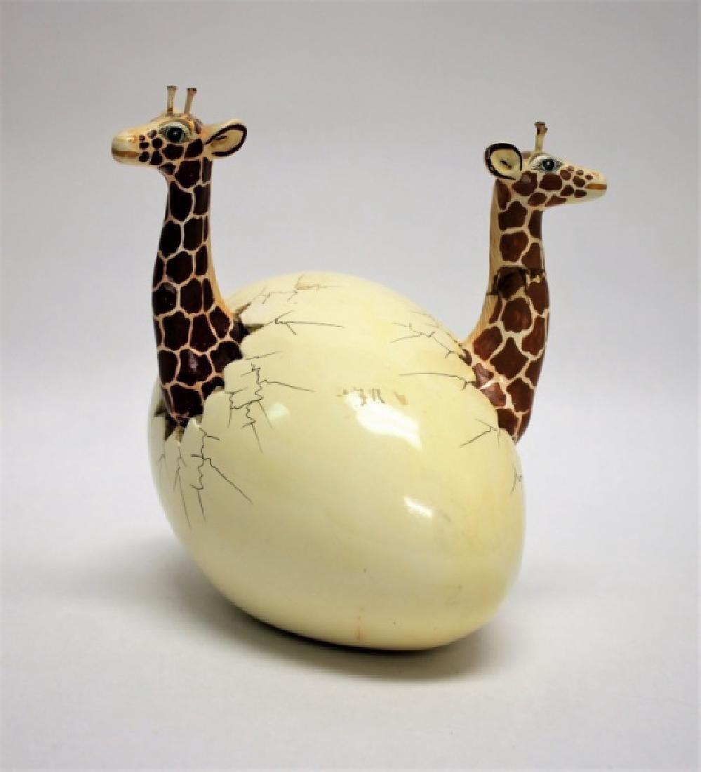 Bustamante Ceramic Giraffes Hatching From Egg