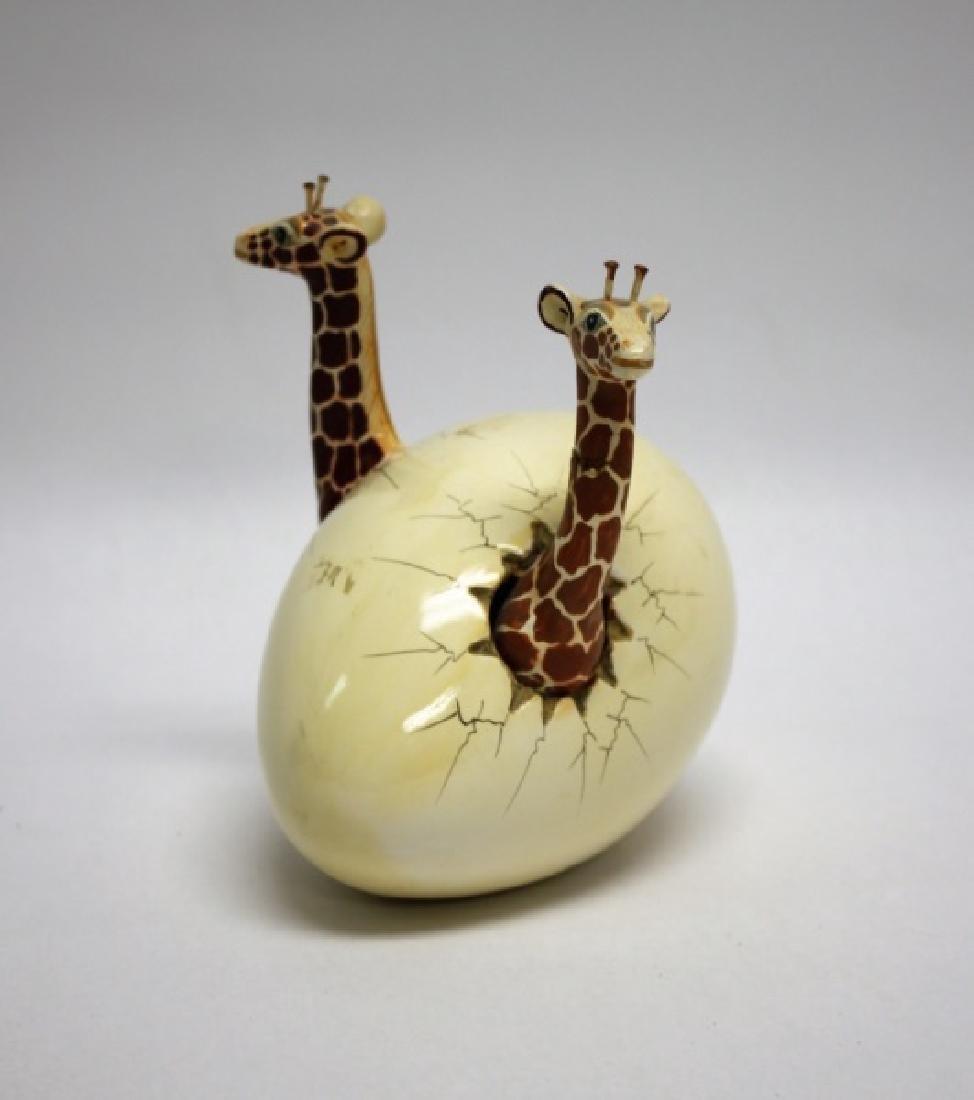 Bustamante Ceramic Giraffes Hatching From Egg - 2