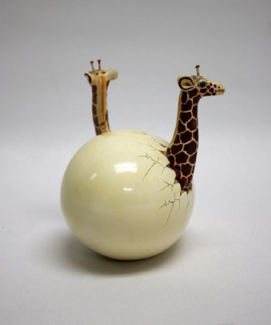 Bustamante Ceramic Giraffes Hatching From Egg - 4