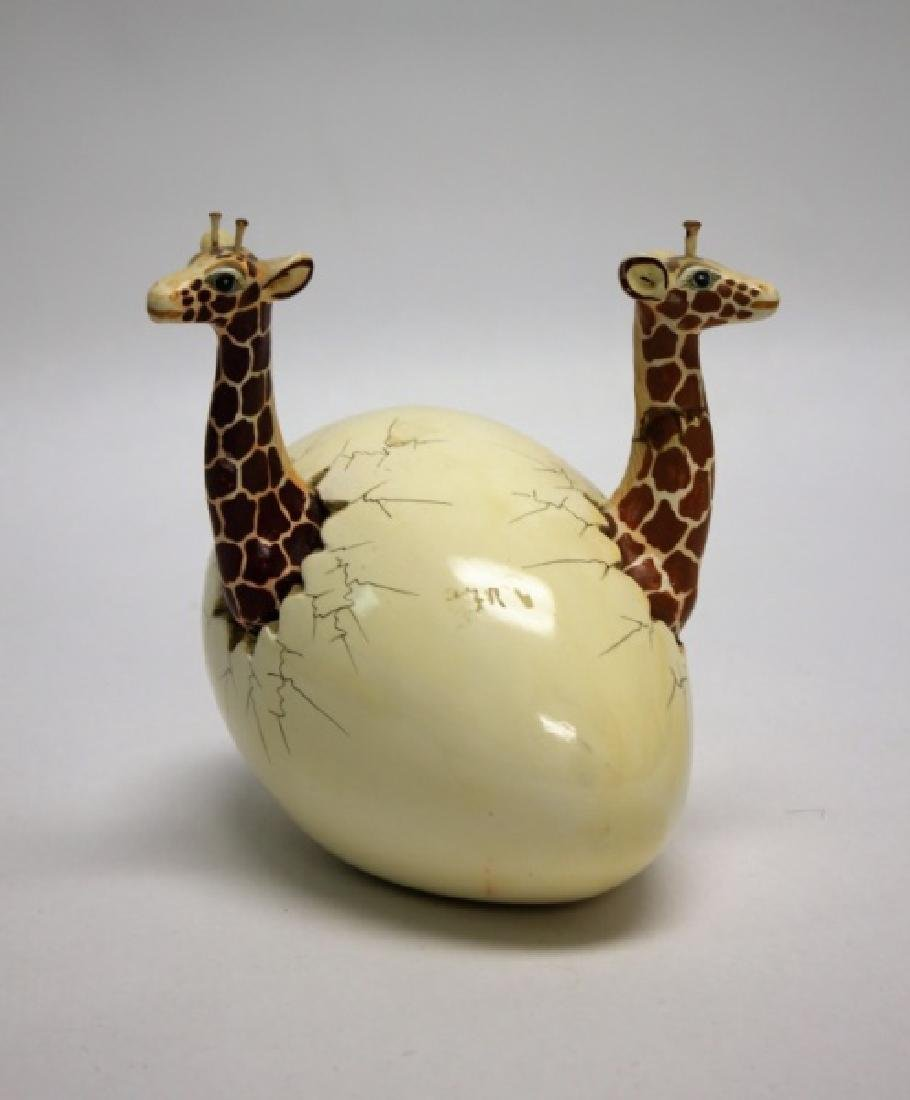 Bustamante Ceramic Giraffes Hatching From Egg - 8