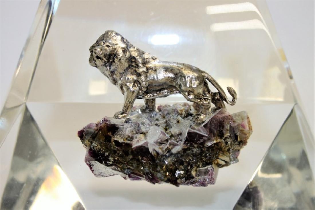 MCM Lucite Encased Lion & Amethyst Sculpture - 3