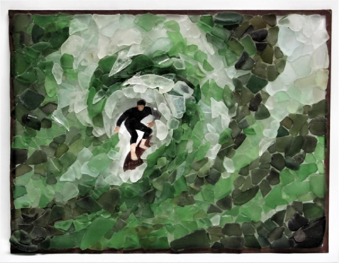 "3D Sea Glass Wall Sculpture ""Surfer Riding Wave"""