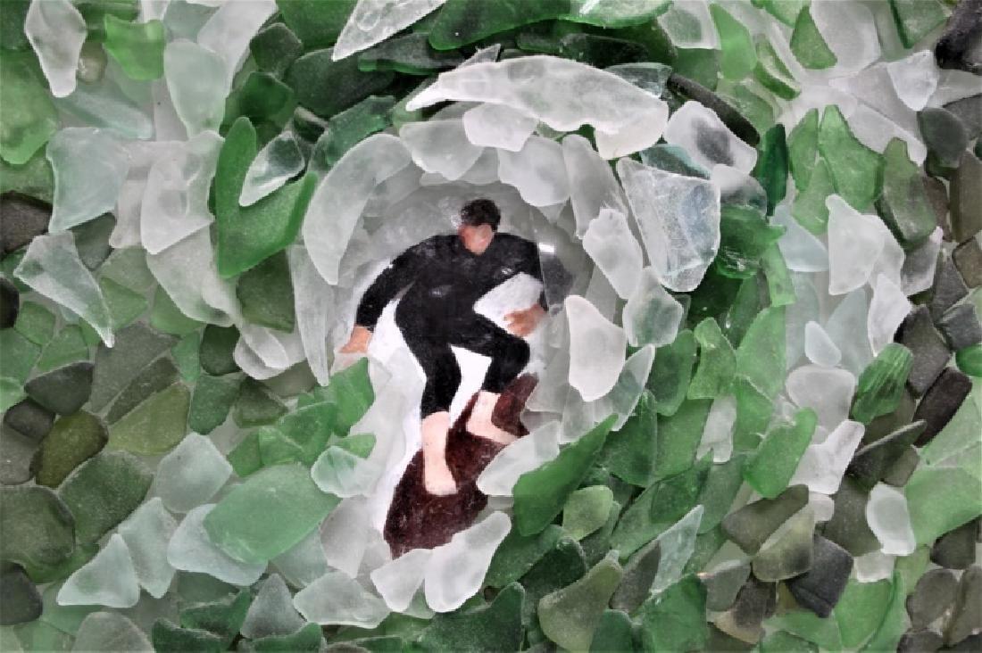 "3D Sea Glass Wall Sculpture ""Surfer Riding Wave"" - 2"