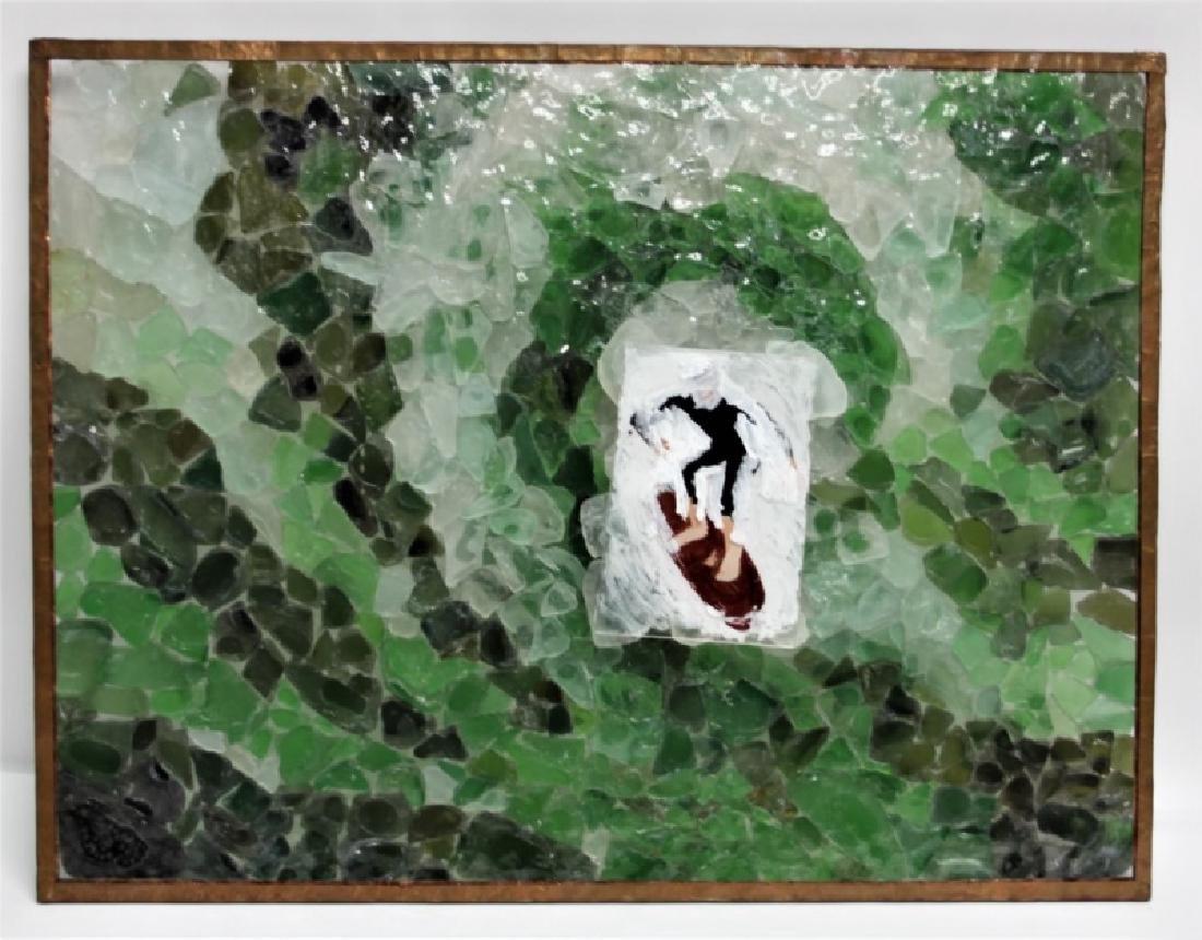 "3D Sea Glass Wall Sculpture ""Surfer Riding Wave"" - 4"