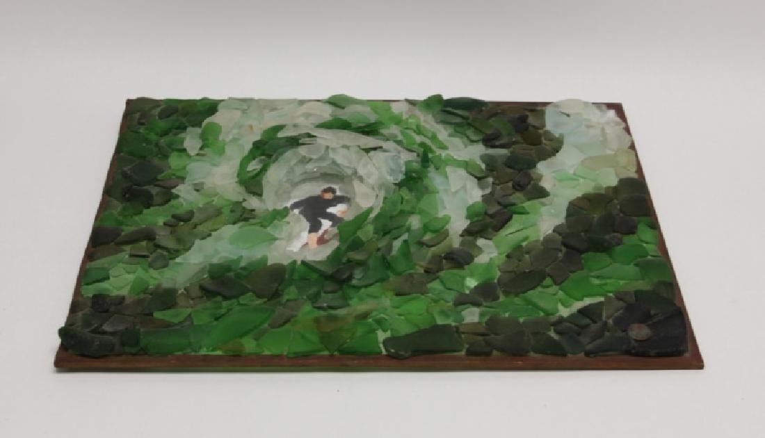 "3D Sea Glass Wall Sculpture ""Surfer Riding Wave"" - 5"