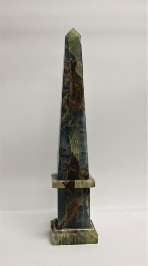 Blue & Sepia Marble Obelisk Sculpture