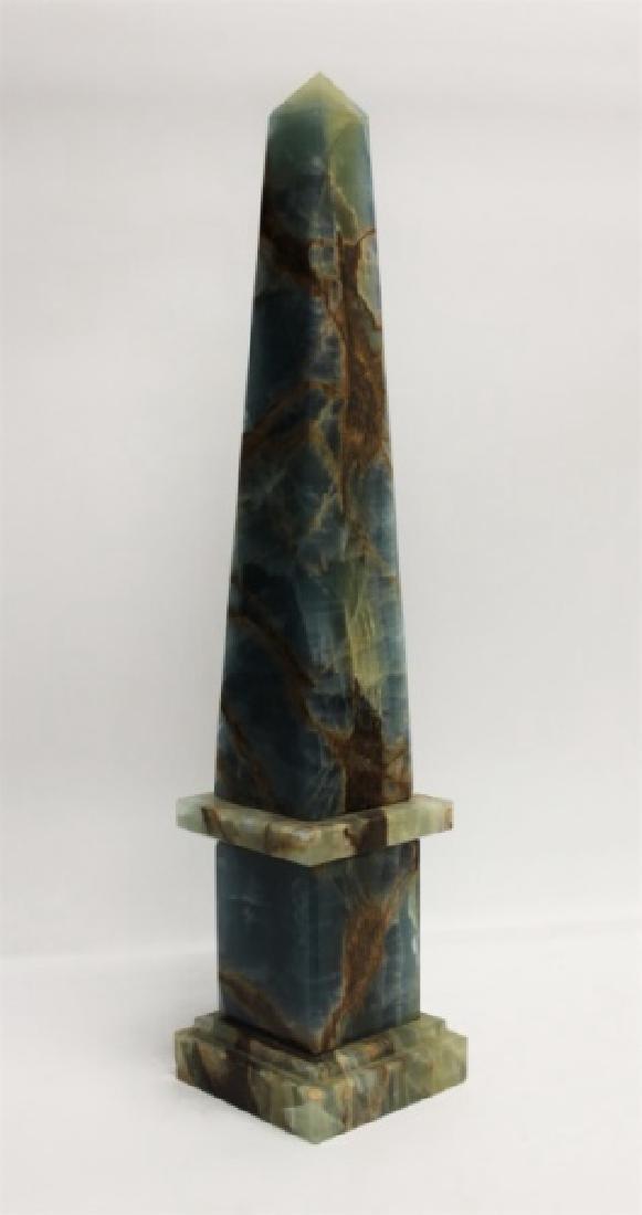 Blue & Sepia Marble Obelisk Sculpture - 2