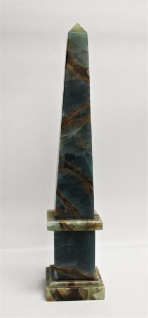 Blue & Sepia Marble Obelisk Sculpture - 3