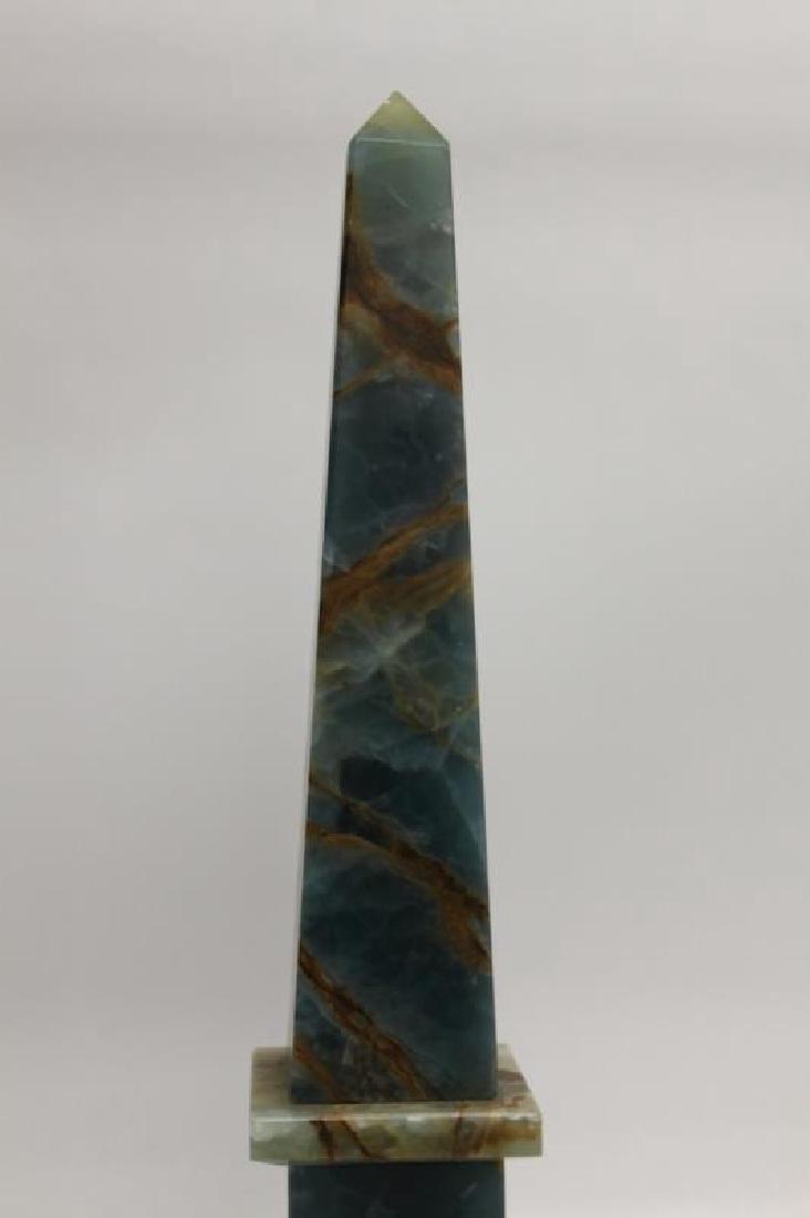Blue & Sepia Marble Obelisk Sculpture - 4