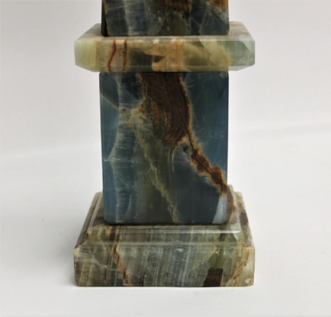 Blue & Sepia Marble Obelisk Sculpture - 5